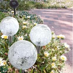 Lampy solarne popękane kule komplet 3 szt LED