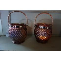 Szklany zdobiony lampion z uchwytem