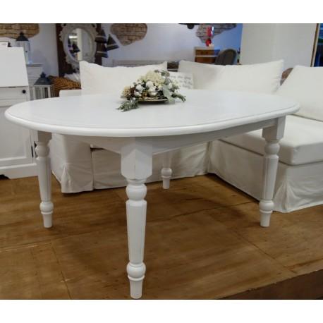 Biały stół z toczonymi nogami